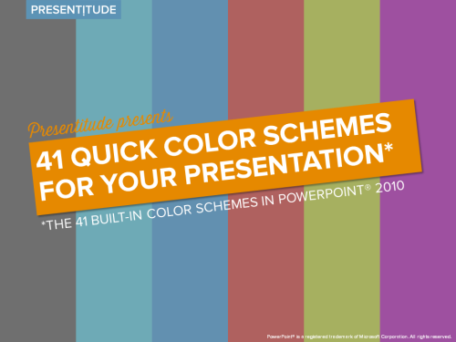 41 color themes ready to use in PowerPoint 2010