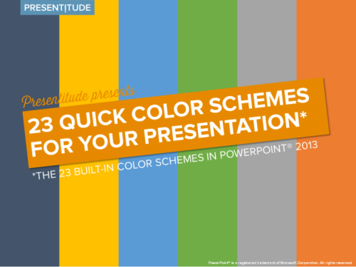 23 color themes ready to use in PowerPoint 2013