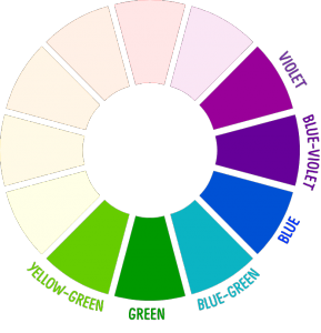 The Cool Colors On Color Wheel Are Greens Blues And Violets They Also Called Receding