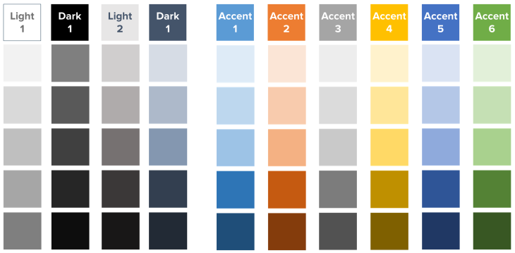 Creating colors in PowerPoint - the automatically generated shades and tints