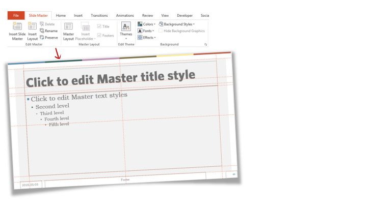 Part 1 of a PowerPoint template - the master slide