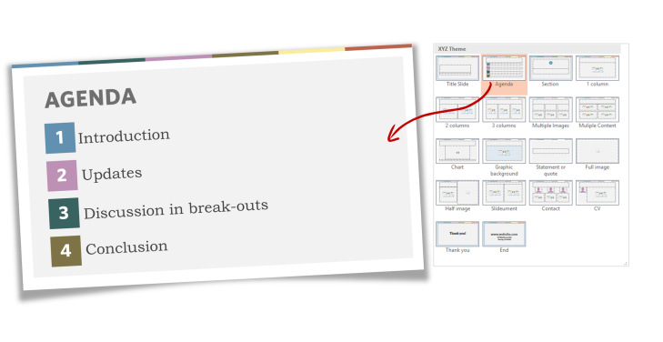 Part 4 of a PowerPoint template - slide layouts
